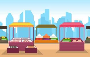 Healthy Fruit Vegetable Store Stall Stand Grocery in City Illustration
