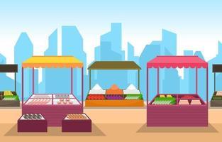 tienda de verduras de frutas saludables puesto de comestibles en la ilustración de la ciudad vector