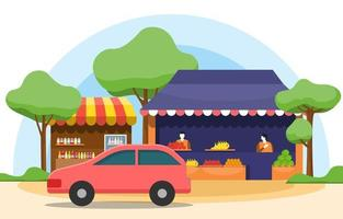 Roadside Fruit Vegetable Store Stall Stand Grocery in City Illustration vector