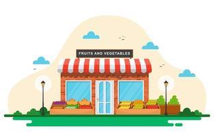 tienda de verduras de frutas frescas puesto de comestibles en el mercado ilustración vector