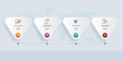 Infografía de línea de tiempo horizontal abstracta 4 pasos con mapa del mundo para negocios y presentación vector