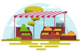 Fresh Fruit Vegetable Store Stall Stand Grocery in Market Illustration vector