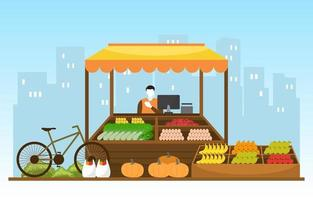 Healthy Fruit Vegetable Store Stall Stand Grocery in City Illustration vector