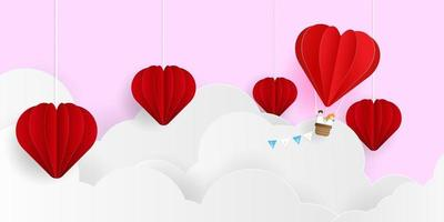 abstract valentines day background, couple with heart shape balloon flying on cloud paper art vector