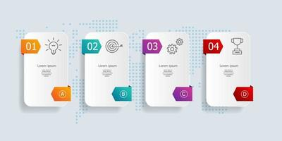 abstract horizontal bar timeline infographics 4 steps for business and presentation vector