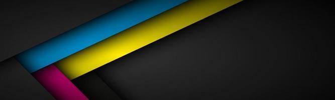 encabezado vectorial abstracto con líneas en colores cmyk. Triángulo superpuesto capas banner oscuro con espacio libre para su diseño vector