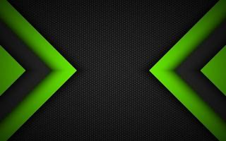 Abstract modern vector background with black and green overlapped arrows and polygonal grid. Material design. Abstract widescreen background