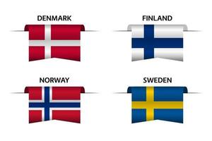 Set of four Danish, Finnish, Norwegian and Swedish ribbons. Made in Denmark, Made in Finland, Made in Norway and Made in Sweden stickers and labels. Vector simple icons with flags