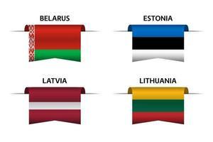 conjunto de cuatro cintas bielorrusas, estonias, letonas y lituanas. fabricado en bielorrusia, fabricado en estonia, fabricado en letonia y fabricado en lituania pegatinas y etiquetas. vector iconos simples con banderas