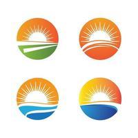 Sunset beach logo images set vector