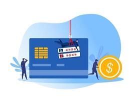 El hacker del equipo roba la tarjeta de crédito con la ilustración del concepto de dinero en efectivo o monedas