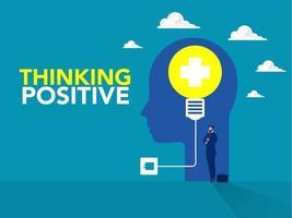empresario de pie idea con bombilla en la cabeza humana pensamiento positivo concepto de negocio nueva idea concepto de creatividad en vector. vector