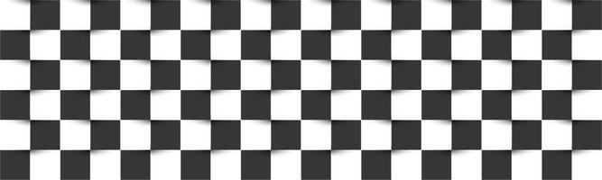 encabezado a cuadros en blanco y negro. tablero de ajedrez simple vector abstracto textura cuadrada