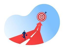 businessman running on the arrow forward success vector illustrator.
