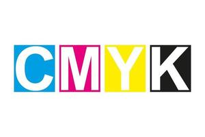 Cmyk print icon. Four squares in cmyk colors symbol. Cyan, magenta, yellow, key, black stripes isolated on white background vector