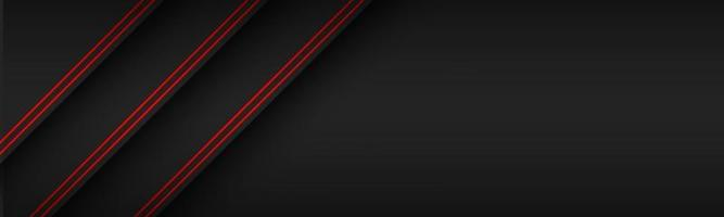 Black modern material header with diagonal lines in red colors. Banner for your business. Vector abstract widescreen background