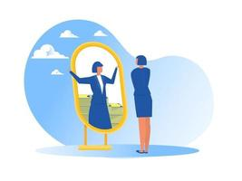 businesswoman looking at herself in mirror dreaming about money or ruch wealth  flat vector illustrator