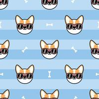 Cute welsh corgi dog face with sunglasses cartoon seamless pattern, vector illustration
