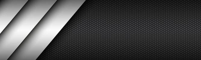 diseño de material moderno en blanco y negro con un encabezado hexagonal. plantilla corporativa para tu negocio. banner de pantalla panorámica abstracta de vector