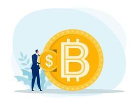 businessman put dollar coin exchange  for bitcoin. flat design.bitcoins, altcoins, finance, digital money market, cryptocurrency,coins Vector illustration.
