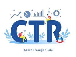 equipo de personas que trabajan y revisan ctr, haga clic en la tasa mínima en el ilustrador de vector de bandera de palabra o texto grande