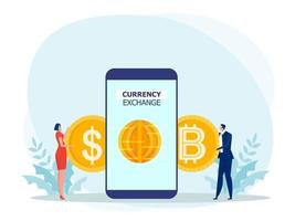 People Using a smartphone to exchange dollars for bitcoin. flat design.bitcoins, altcoins, finance, digital money market, cryptocurrency,coins Vector illustration.
