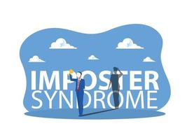 imposter syndrome, business holding on carnival masks with happy or sad expressions. vector