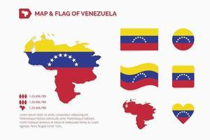 mapa y bandera de venezuela vector