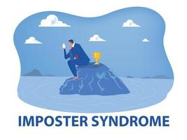 Imposter syndrome,business man holding mask look himself with Anxiety and lack of self confidence at work the person fakes is someone else concept vector illustrator