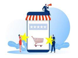 Mujer y hombre con calificación de estrellas para votar tienda tienda concepto de negocio ilustración vectorial vector
