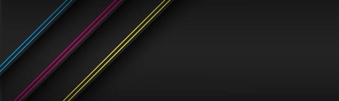 Cabecera de material moderno negro con líneas diagonales en colores CMYK. banner para su negocio. vector de fondo de pantalla panorámica abstracta