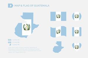 mapa y bandera de guatemala vector