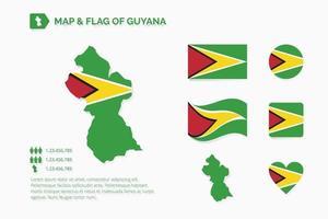mapa y bandera de guyana vector