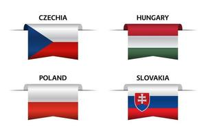Set of four Czech, Hungarian, Polish and Slovak ribbons. Made in Czech Republic, Made in Hungary, Made in Poland and Made in Slovakia stickers and labels. Vector simple icons with flags