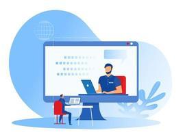 coaching empresarial, formación del equipo de empleados, vídeo de aprendizaje en la pantalla de ordenador grande.Ilustrador de vector de concepto de coaching de seminario web en línea.