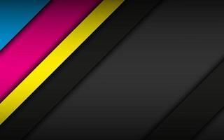 Fondo de material moderno negro con capas superpuestas en colores CMYK. plantilla para su negocio. vector de fondo de pantalla panorámica abstracta