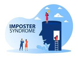 Imposter syndrome.woman standing for her present profile with get award. Anxiety and lack of self confidence at work the person fakes is someone else concept