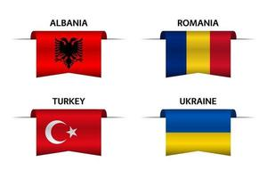 Set of four Albanian, Romanian, Turkish and Ukrainian ribbons. Made in Albania, Made in Romania, Made in Turkey and Made in Ukraine stickers and labels. Vector simple icons with flags
