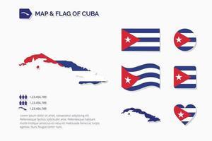 mapa y bandera de cuba vector