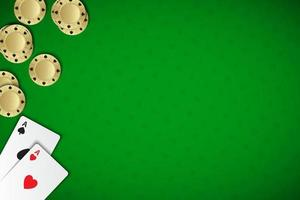 Vector poker background with playing cards and chips on green casino background. Modern poker widescreen wallpaper