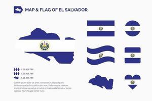 mapa y bandera de salvador vector