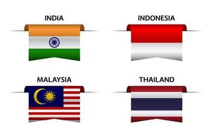 Set of four Indian, Indonesian, Malaysian and Thai ribbons. Made in India, Made in Indonesia, Made in Malaysia and Made in Thailand stickers and labels. Vector simple icons with flags