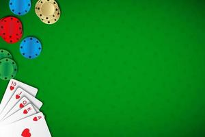 Vector poker background with Royal Straight Flush and chips on green casino background. Modern poker widescreen wallpaper