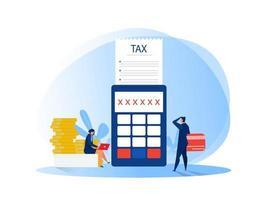 Gente de negocios de análisis financiero de impuestos calculando documento para impuestos ilustración vectorial plana vector