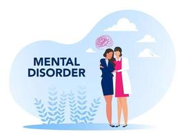 Mental disorder, cartoon nurse with girl psychological problems Concept of mental disorder or illness. Vector illustration