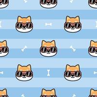 Cute shiba inu dog face with sunglasses cartoon seamless pattern, vector illustration
