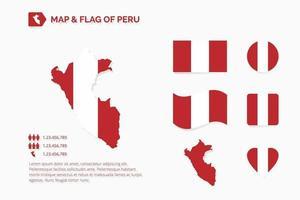 mapa y bandera de peru vector