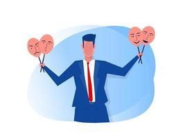 síndrome del impostor, empresario probándose máscaras de carnaval con expresiones felices o tristes.