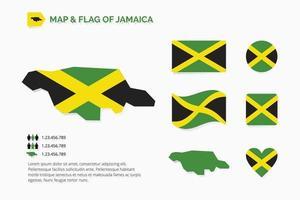 mapa y bandera de jamaica vector