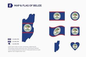 Map nd flag of Belize vector